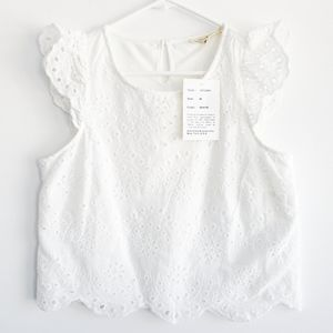Rebellion Again Cropped Sleeveless Lace Top